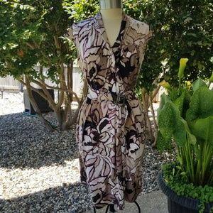 Dana Buchman Belted Faux Wrap Dress, Size L
